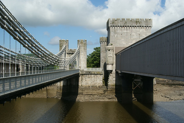 Thomas Telford's and Robert Stephenson's bridges at Conwy