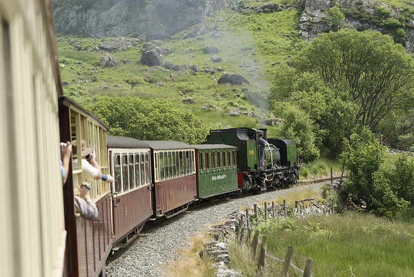 The Welsh Highland Railway on the climb to Rydd Dhu