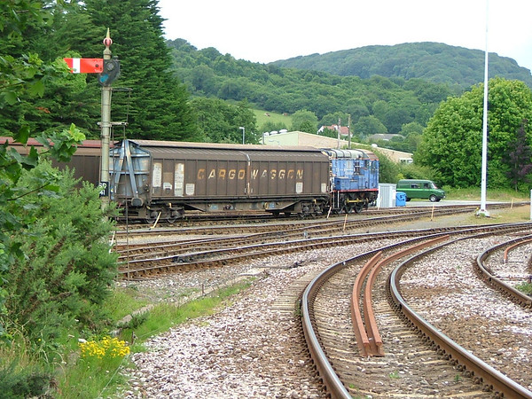 St Blazey Yard with an unidentified class 08 shunter in faded Mainline blue livery