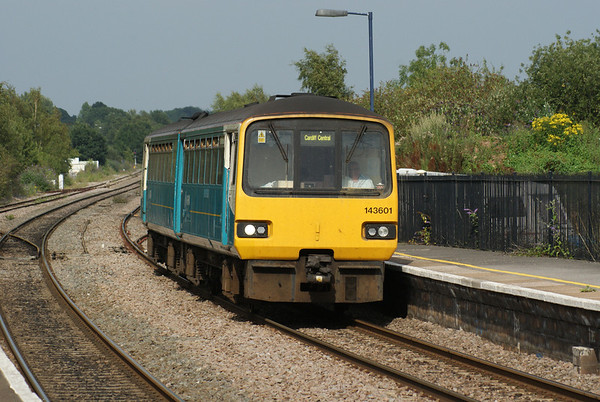 Arriva Trains Wales 143 621 arrives at Lydney with a local from Gloucester to Cardiff.