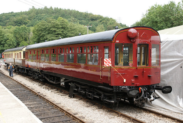 Beautifully restored Hawksworth autotrailer at Norchard on the Dean Forest Railway