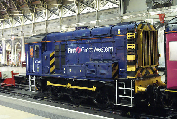 First Great Western's 08836 on the blocks at Paddington at a quarter-to-midnight having top-and-tailed the empty stock for the evening's