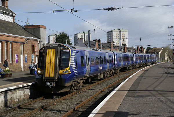 First Scotrail class 380 arrives at Ayr with a service from Glasgow
