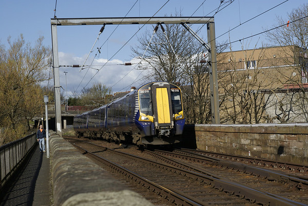 First Scotrail 380 crossing the river at Ayr.