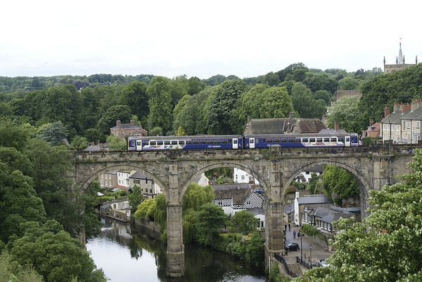 A Northern Rail class 155 crossing the famous viaduct at Knaresborough.