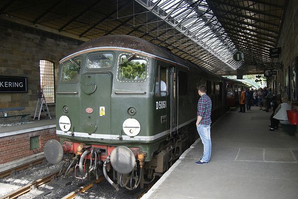 Veteran class 24 locomotive D5061 at Pickering having just brought the first train of the day down from Whitby. This locomotive is almost as old as many of the BR Standard steam locomotives on the railway,