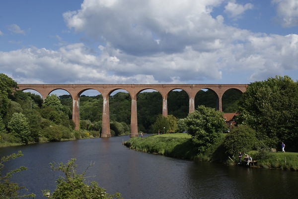 The long-disused viaduct that once carried the Middlesborough to Scarborough coast line across the Esk at Whitby.