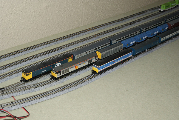 Lineup of three CJM Class 50s in the fiddle-yard. The track is Kato Unitrack using #6 turnouts.